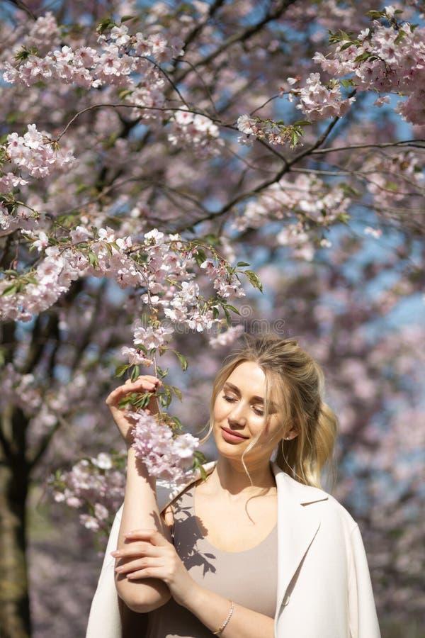 Den h?rliga blonda unga kvinnan i Sakura Cherry Blossom parkerar i v?r som tycker om naturen och fri tid under hennes resande arkivfoton
