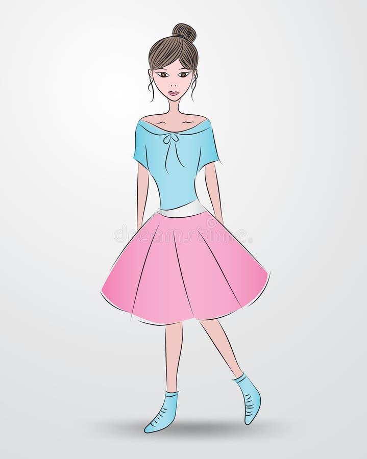 Den h?rliga modemodellen, gullig flicka i den h?rliga kl?nningen, tecknad film, skissar teckningen, f?r sk?nhetsmedel, brunnsorte royaltyfri illustrationer