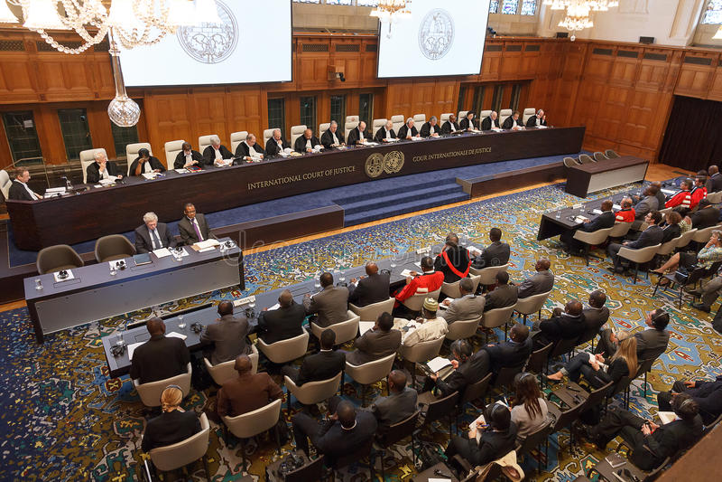 Openbare Hoorzittingen ICJ stock fotografie