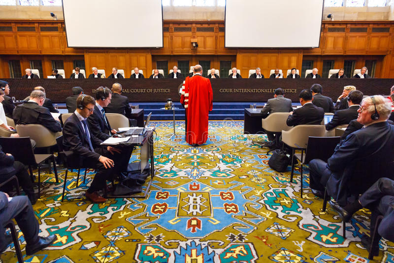 Openbare Hoorzittingen ICJ stock foto's
