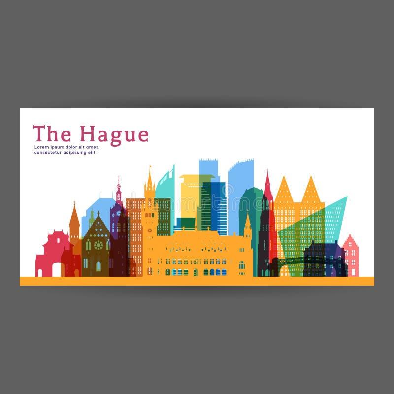 Den Haag bunte Architektur-Vektorillustration lizenzfreie abbildung
