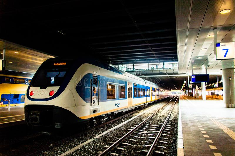 Sprinter train Den haag station royalty free stock photos