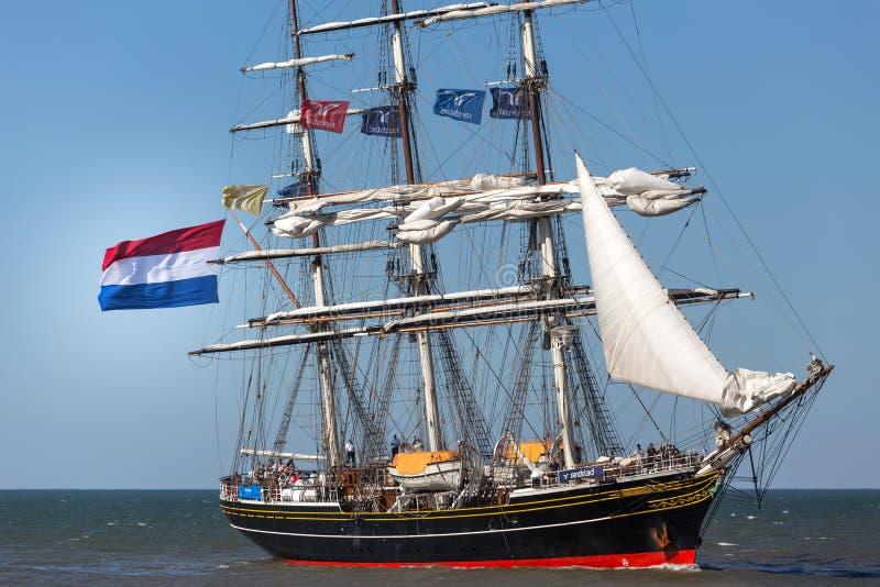 Den Haag, Den Haag/die Niederlande - 01 07 18: Segelschiff stad Amsterdam auf dem Ozean Den Haag die Niederlande stockbilder