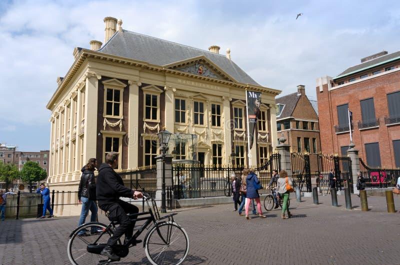 Den Haag, Nederland - Mei 8, 2015: De toeristen bezoeken Mauritshuis-Museum in Den Haag stock fotografie