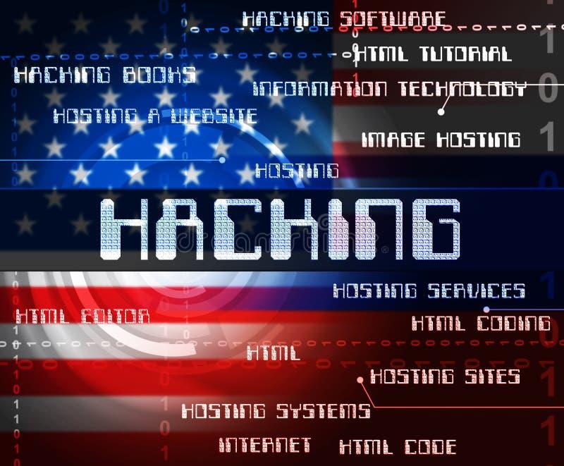 Den hackade amerikanen uttrycker illustrationen för visningdataintrångvalet 3d stock illustrationer