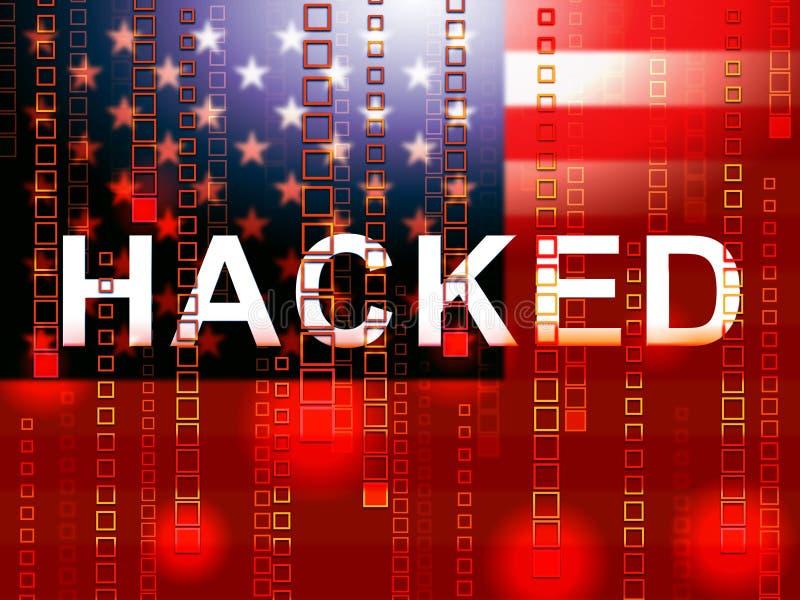 Den hackade amerikanska flaggan betyder illustrationen för dataintrångvalet 3d vektor illustrationer