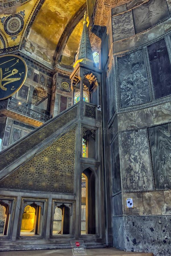 Den Hagia Sophia (som kallas också Hagia Sofia eller Ayasofya) inre fotografering för bildbyråer