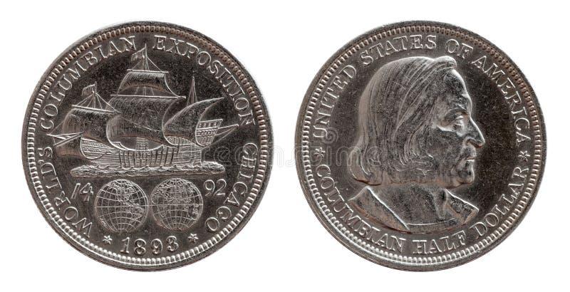 Den halva dollaren jubileums- USA myntar silver 1893 som isoleras på vit royaltyfri bild