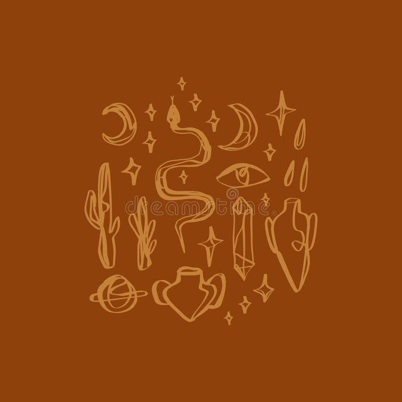 Den Handdrawn tatueringen skissar Kristaller, ormar och kaktusväxter white f?r sk?ld f?r bakgrunds?gonprovidence Månegudinnasymbo royaltyfri illustrationer