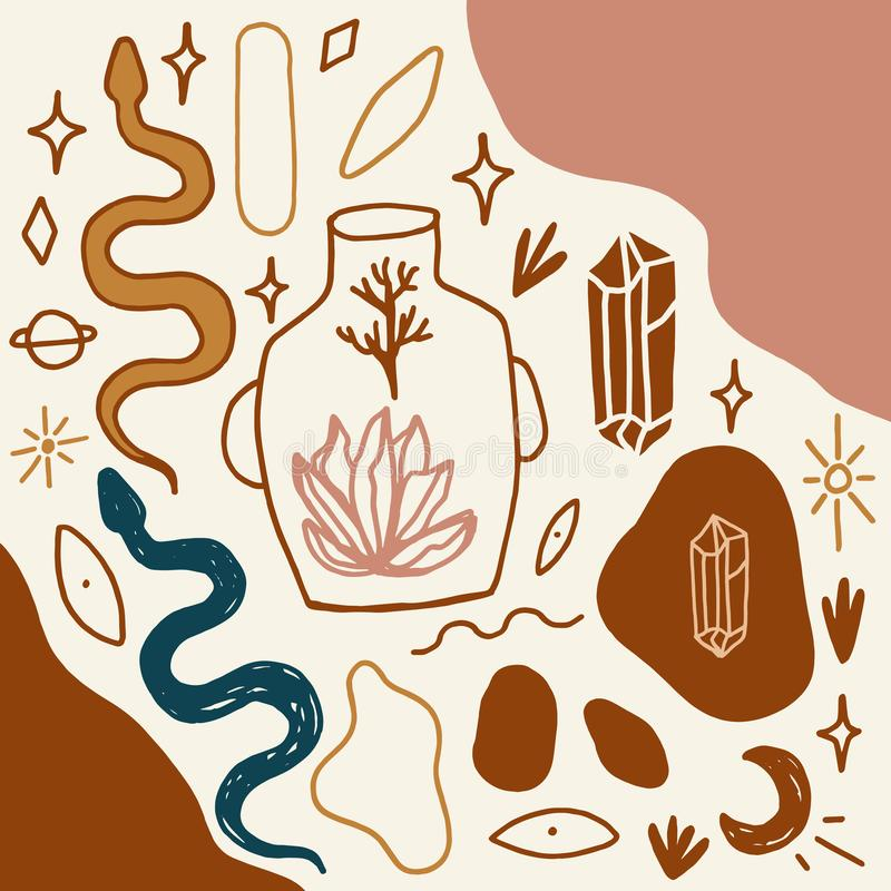 Den Handdrawn tatueringen skissar Kristaller, ormar och kaktusväxter white f?r sk?ld f?r bakgrunds?gonprovidence Månegudinnasymbo stock illustrationer