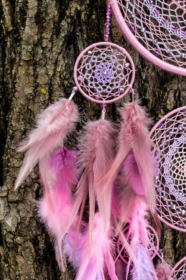 Den handgjorda dröm- stopparen med fjädrar dragar och pryder med pärlor att hänga för rep royaltyfri foto