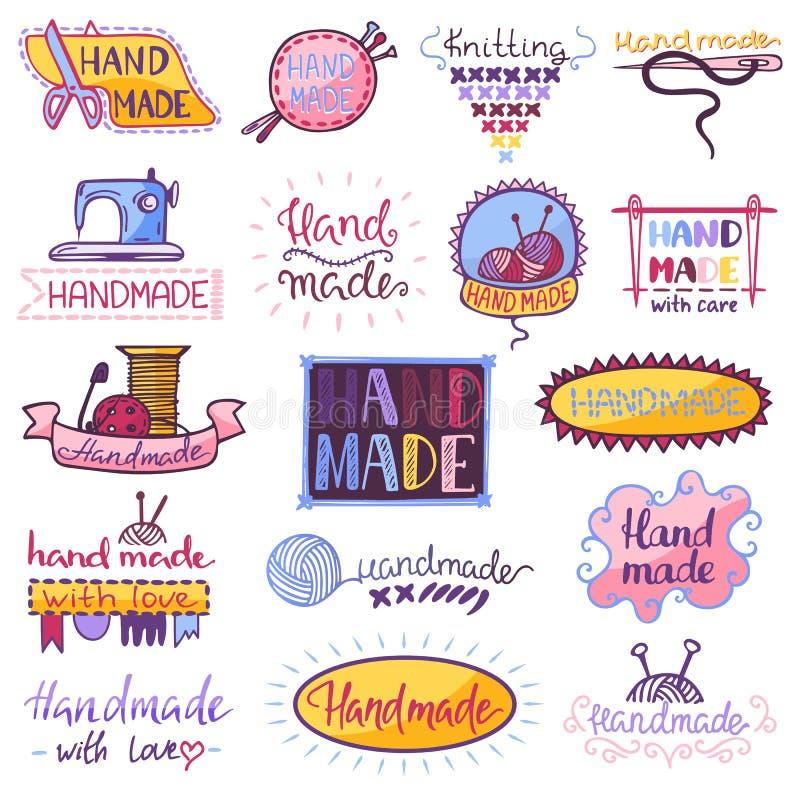 Den handgjorda logovektorn som syr handarbete, handcraft illustrationen för hobbyseminariumlogotypen ställde in av att virka det  royaltyfri illustrationer