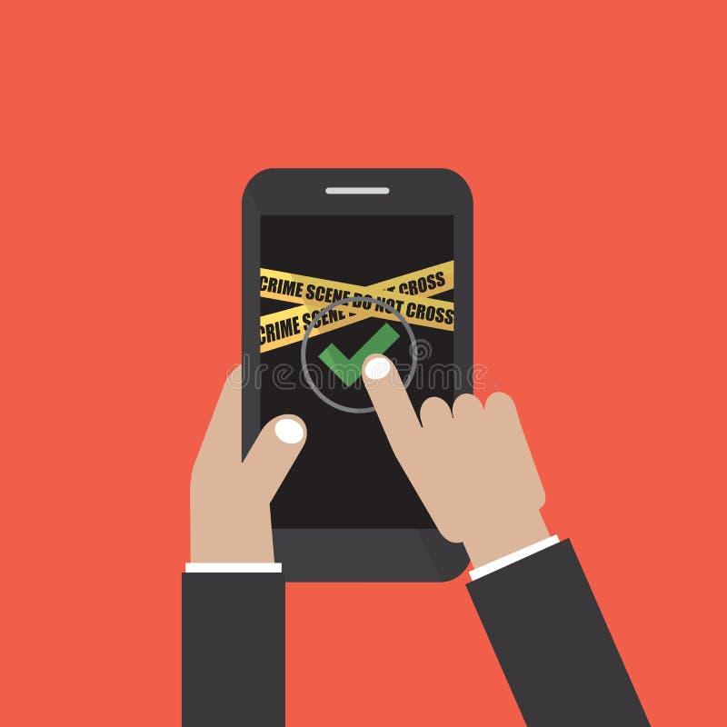 Den handhållSmart telefonen med sidan för användareinloggningsformen och undertecknar in knapp- och för brott för gulingvarningsb stock illustrationer