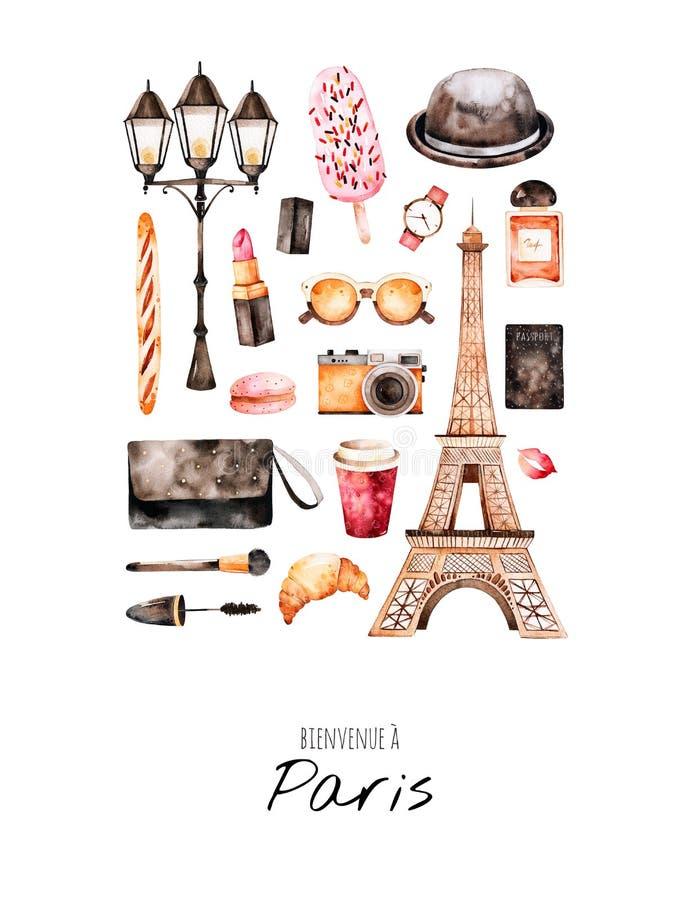 Den Handpainted vykortet med skönhetsmedel, turnerar Eiffel, kaffe, kameran, parfum royaltyfri illustrationer