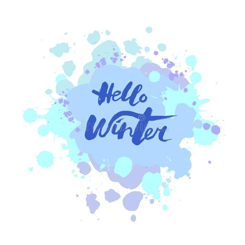 Den handskrivna moderna märka Hello övervintrar stock illustrationer