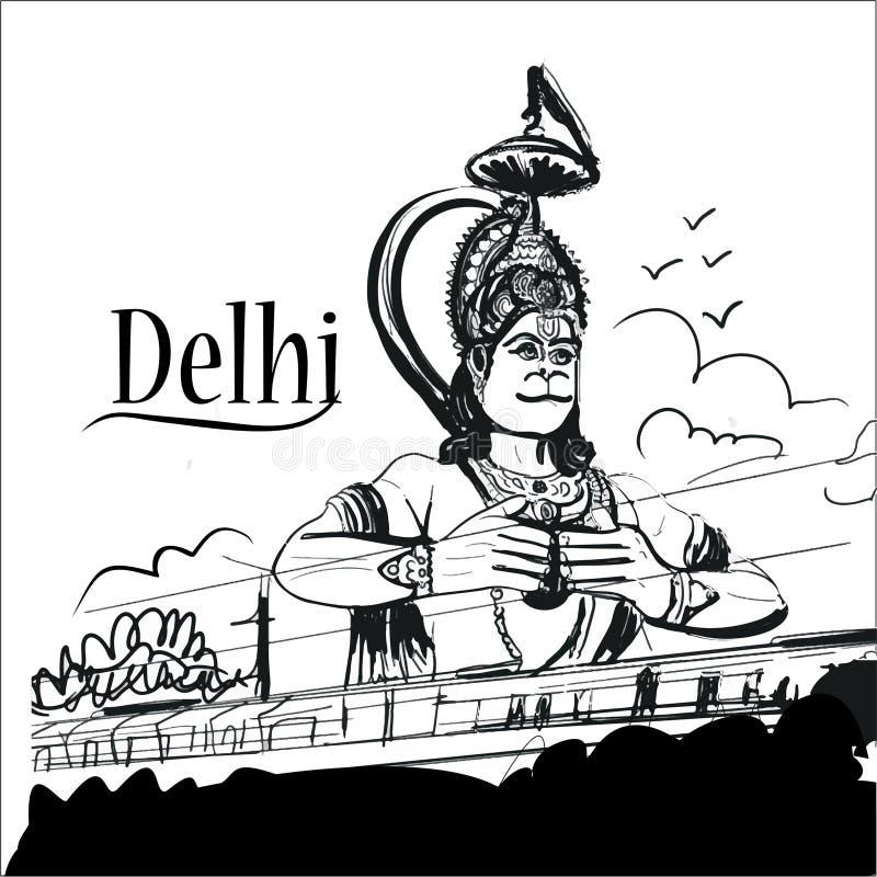 Den Hanuman templet av karolbagh New Delhi skissar det idérika banret royaltyfri illustrationer