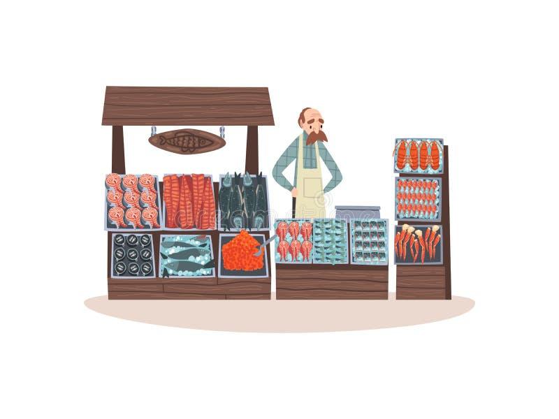 Den havs- marknaden med friskhetfisken på räknaren, gata shoppar med den manliga säljarevektorillustrationen royaltyfri illustrationer