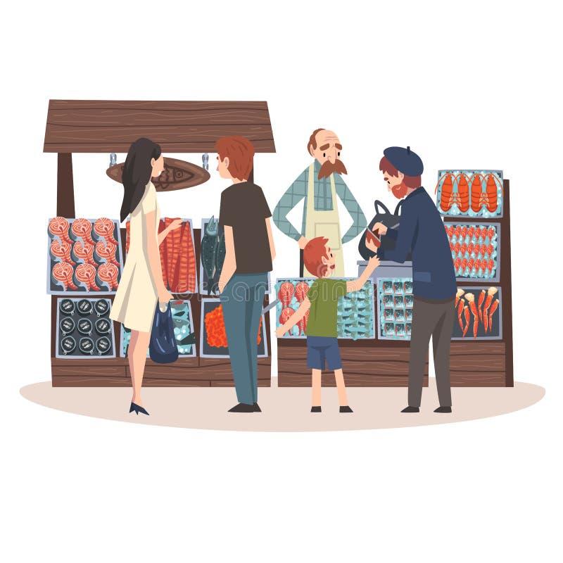 Den havs- marknaden med friskhetfiskprodukter på räknaren, gata shoppar med den manliga säljare- och kundvektorillustrationen vektor illustrationer