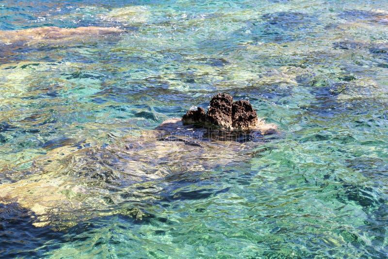Den havskusten och stranden med vaggar, den steniga kustlinjen, det blåa havet, bra solig dag Sommartur h?rliga greece h?rlig str arkivfoto