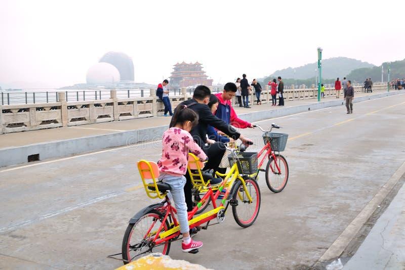 Den hela familjen som rider en cykel royaltyfria foton