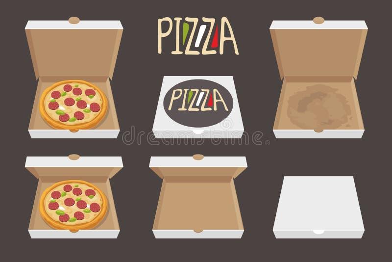 Den hela pizza i den öppnade och stängda kartongen leverans Ställ in illustrationen för vektorlägenhetstil royaltyfri illustrationer