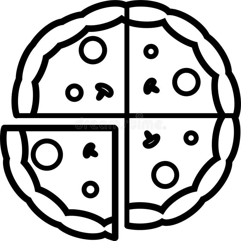 Den hela pizzasymbolen skivas in i 4 stycken med champinjoner, tomater och ost vektor illustrationer