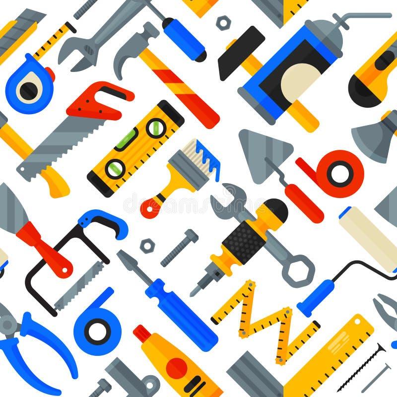 Den hem- reparationen bearbetar symboler som arbetar illustrationen för vektorn för bakgrund för modellen för konstruktionsutrust royaltyfri illustrationer