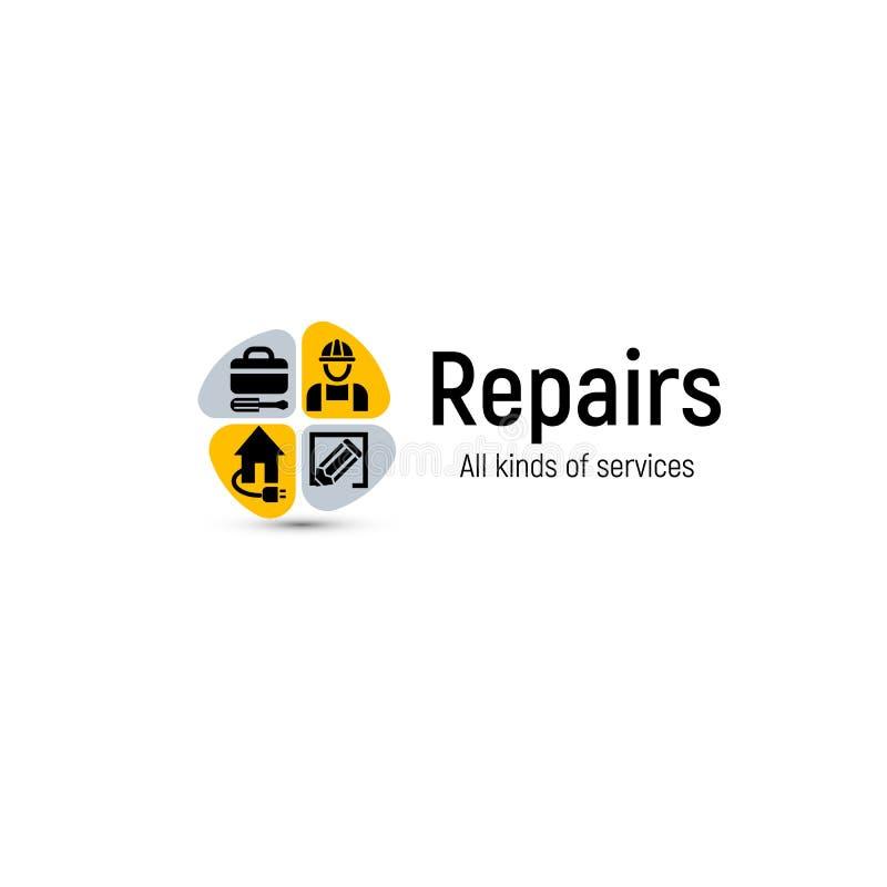 Den hem- reparationen bearbetar vektorlogo Symbol för husrenoveringservice Yrkesmässig service för byggnad och förbättringsabstra royaltyfri illustrationer