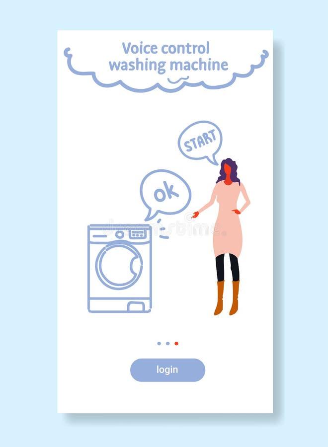 Den hem- tvättmaskinen som kontrolleras av smart tech för kvinna, känner igen kommandon, stämmakontroll sombegreppet skissar flöd vektor illustrationer