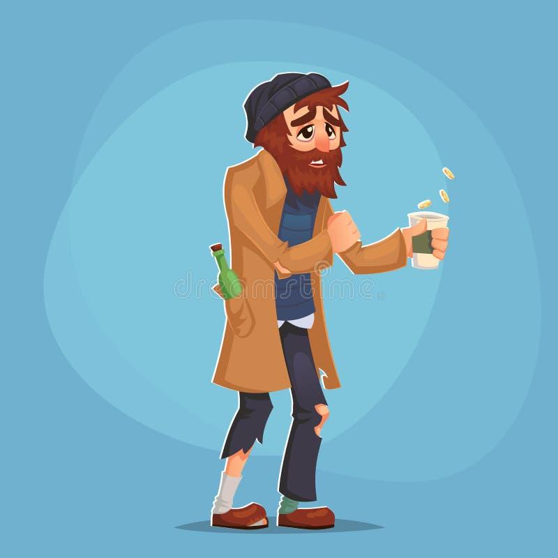 Den hemlösa Bum Poor manvuxna människan tigger pengar och behöver hjälp isolerad misär för armod för problem för illustration för royaltyfri illustrationer