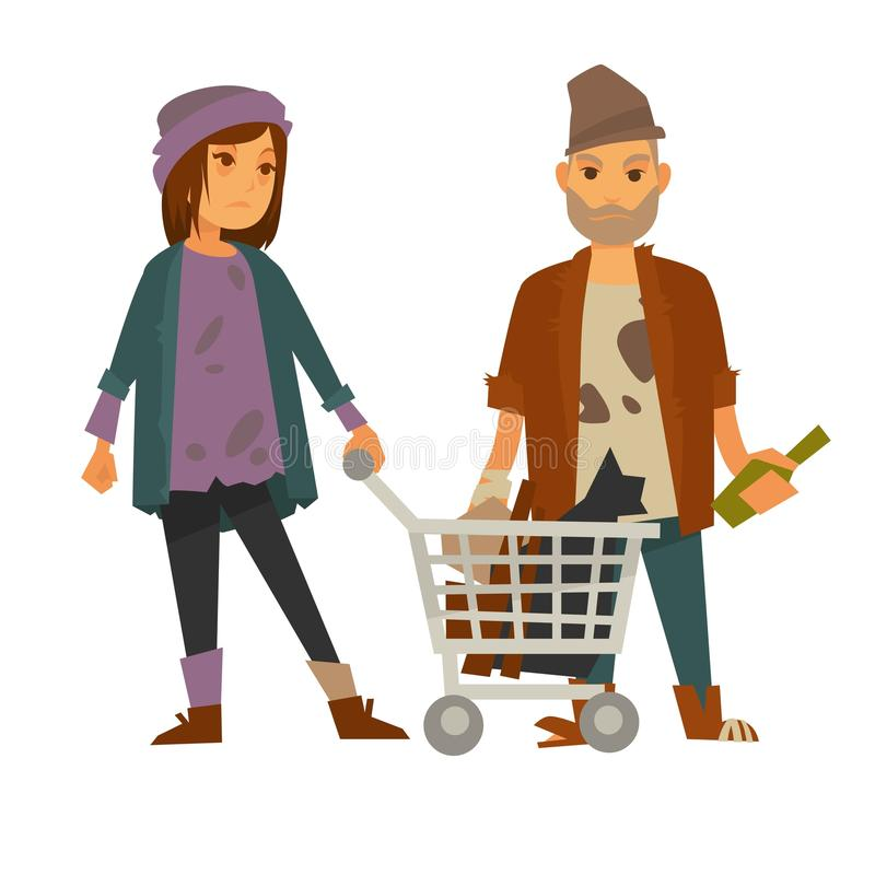 Den hemlösa kvinnan med vagnen av rackar ner på och den berusade mannen royaltyfri illustrationer