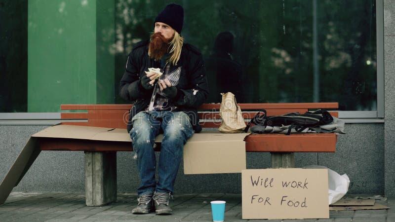 Den hemlösa och arbetslösa europeiska mannen med papptecknet äter smörgåsen på bänk på stadsgatan på grund av invandrarekris royaltyfri foto
