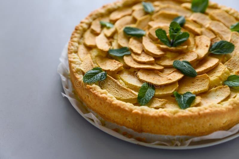 Den hemlagade äppelpajen med ost dekorerade mintkaramellsidor på grå träbakgrund Teatime eller vegetariskt matbegrepp selektivt arkivfoton
