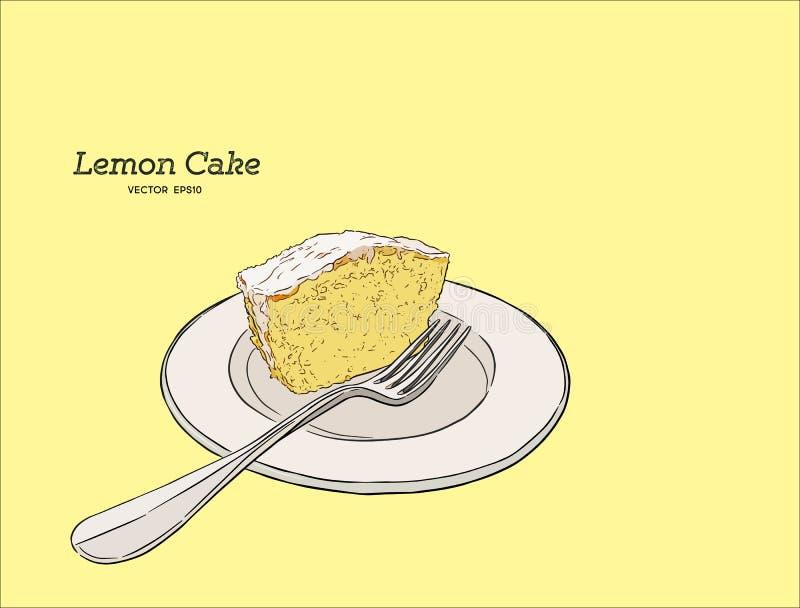 Den hemlagade citronkakan med vallmofrön och socker glasar akvareller för drawhandpapper vektor illustrationer