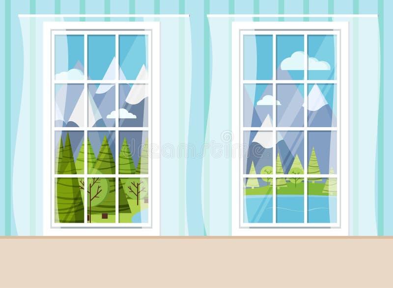 Den hemtrevliga hemmiljöplatsen med två stängde vita plast- panorama- fönster för pvc royaltyfri illustrationer