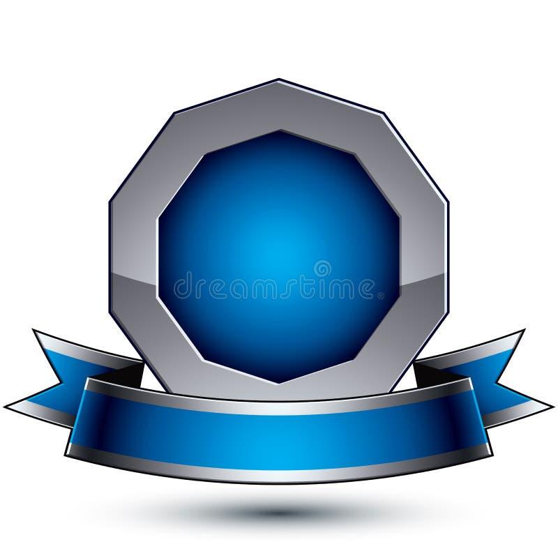 Den heraldiska glansiga symbolen för blått 3d och grå färg- kan användas i rengöringsduk stock illustrationer