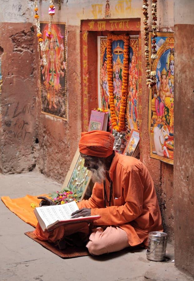 Den hinduiska fantasten läser och deklamera sakrala texter royaltyfri fotografi