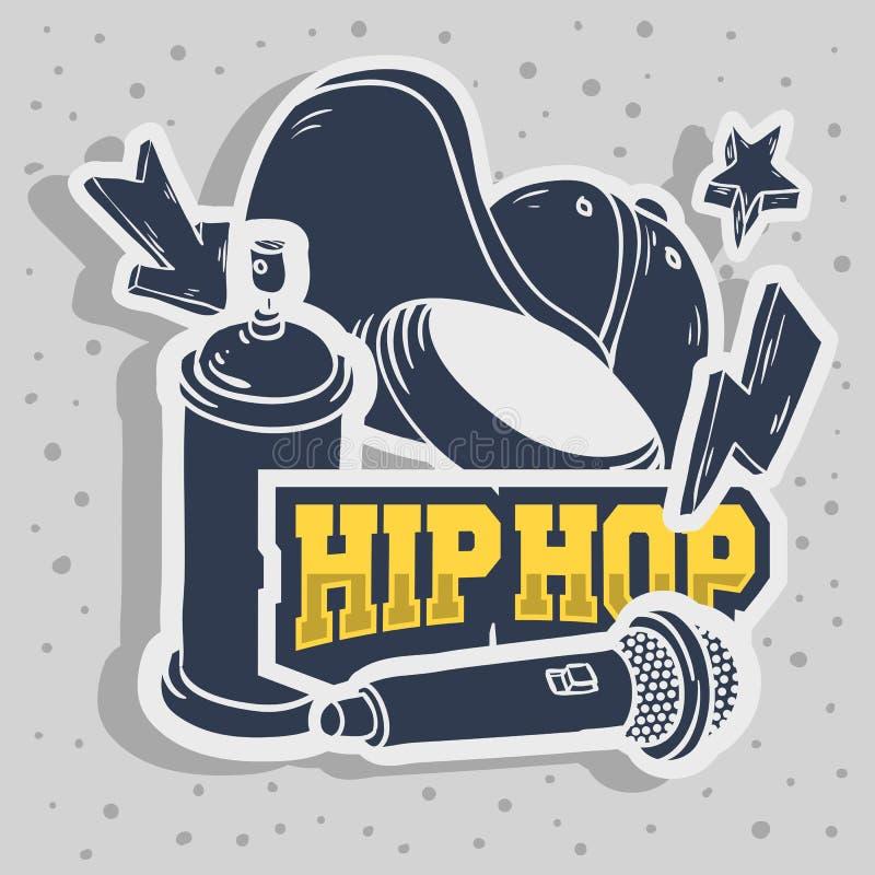 Den Hip Hop klistermärkedesignen med snapbacken Flexfit Mic Microphone Graffiti Paint Spray för baseballhatten kan släkta Baloon royaltyfri illustrationer