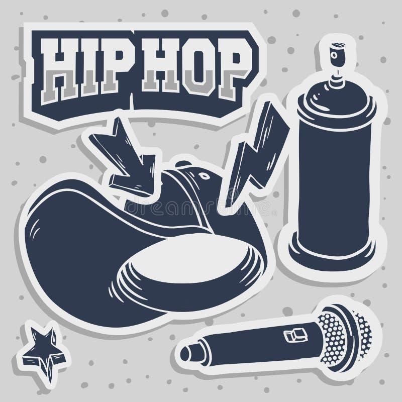 Den Hip Hop klistermärkedesignen med snapbacken Flexfit Mic Microphone Graffiti Paint Spray för baseballhatten kan släkta Baloon stock illustrationer