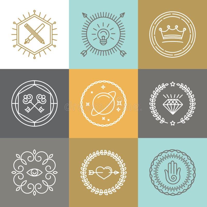 Den hipstertecknet och logoen för vektor planlägger det abstrakta beståndsdelar royaltyfri illustrationer
