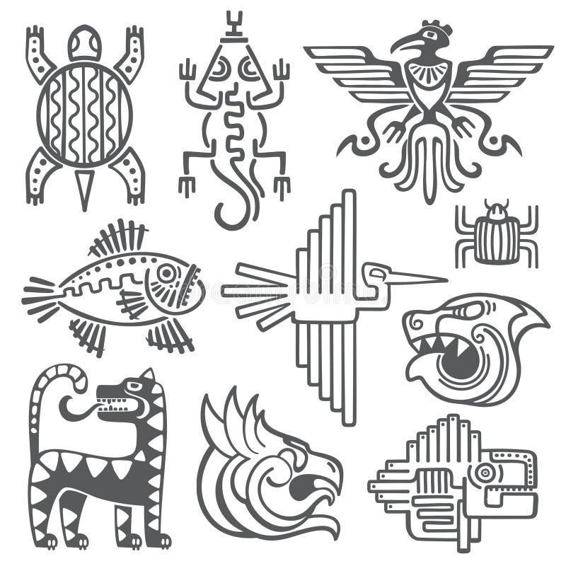 Den historiska aztecen, incavektorsymboler, den mayan tempelmodellen, indiankultur undertecknar royaltyfri illustrationer