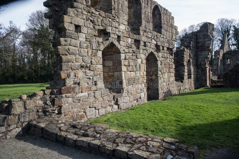 Den historiska Basingwerk abbotskloster fördärvar i Greenfield, nära Holywell norr Wales royaltyfri foto