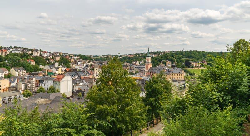 Den historiska Greiz-staden i Tyskland arkivfoton