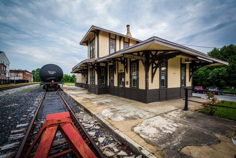 Den historiska järnvägstationen i Gettysburg, Pennsylvania arkivfoto
