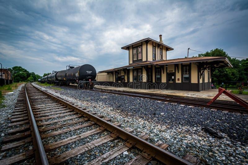 Den historiska järnvägstationen i Gettysburg, Pennsylvania royaltyfri fotografi