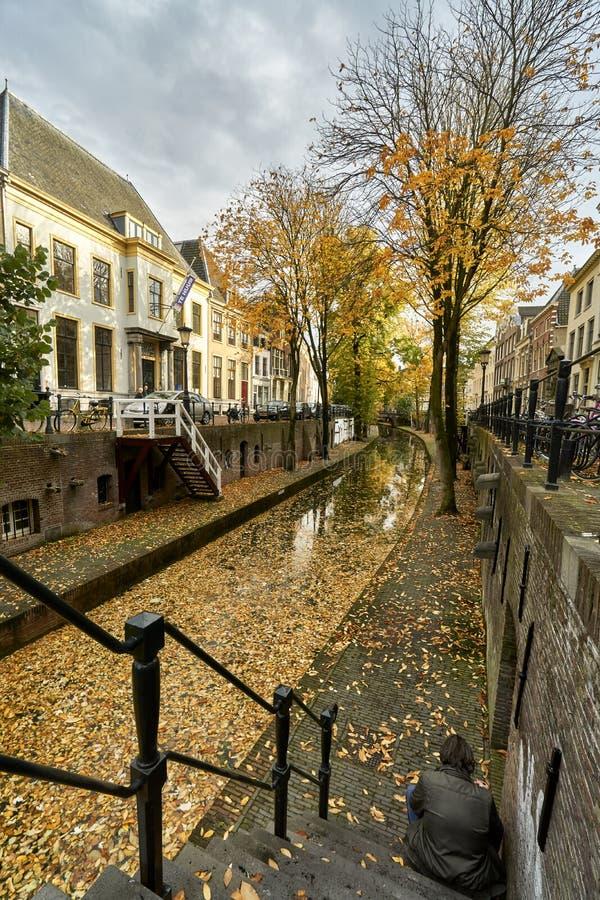 Den historiska kanalen i staden Utrechts centrum i Nederländerna under fallet med blad som täcker marken arkivbild