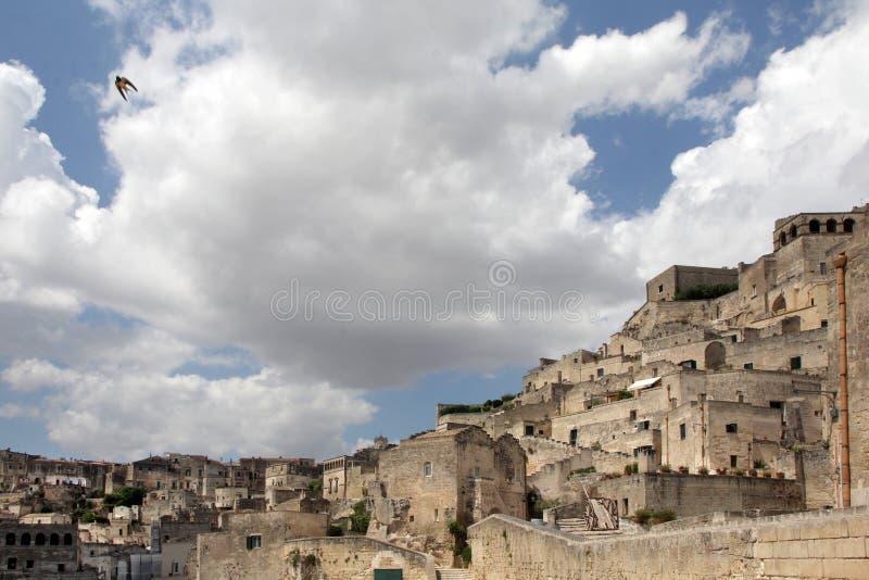 Den historiska mitten av staden av Matera arkivbild