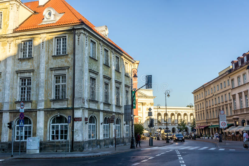 Den historiska mitten av Warszawa, Polen arkivfoto