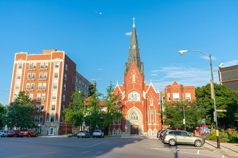Den historiska norska Lutheran Memorial Church i Logan Square Chicago arkivfoton