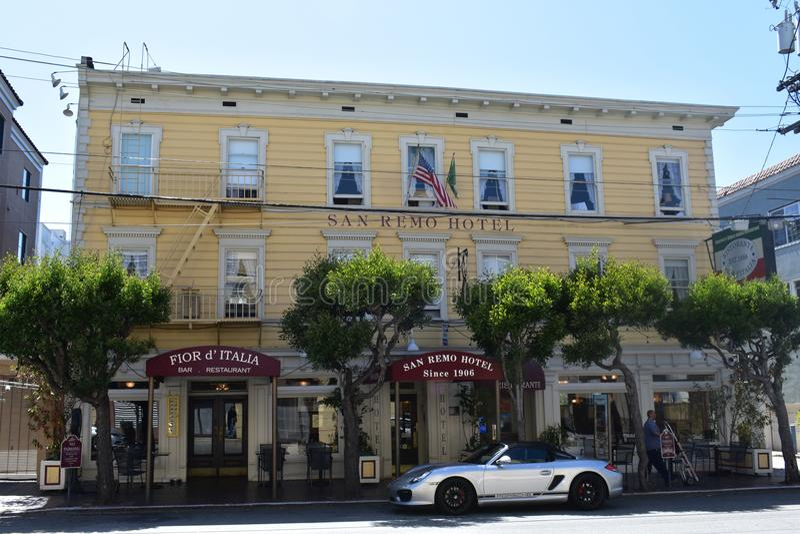 Den historiska Sanen Remo Hotel den historiska Fior D `en Italia arkivfoto